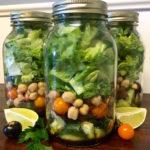 Garden Veggie Mason Jar Salad with Homemade Dressing Recipe