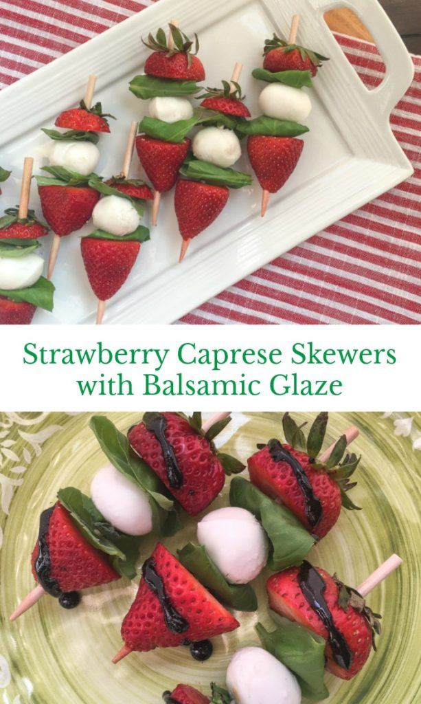 Strawberry Caprese Skewers with Balsamic Glaze
