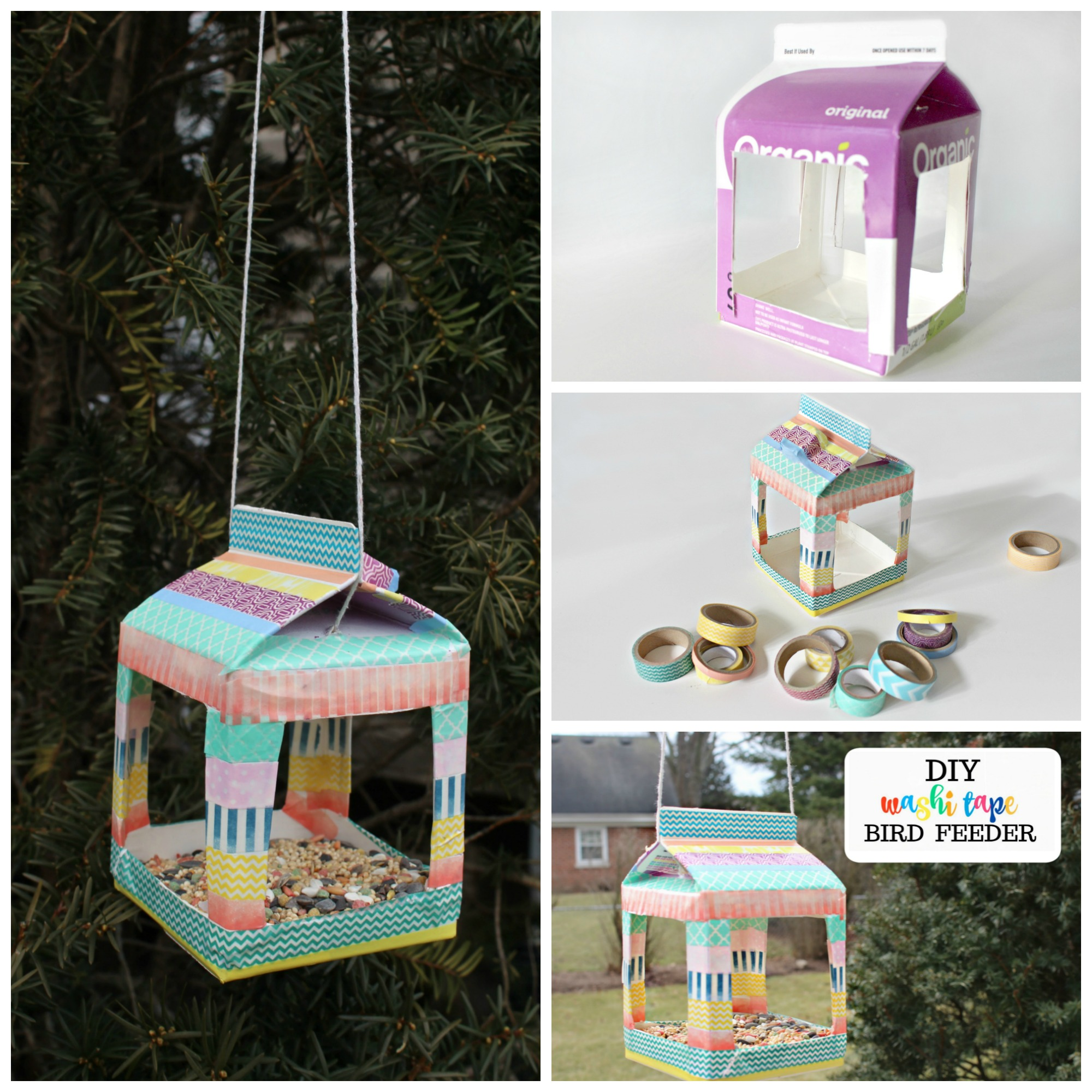 washi tape bird feeder