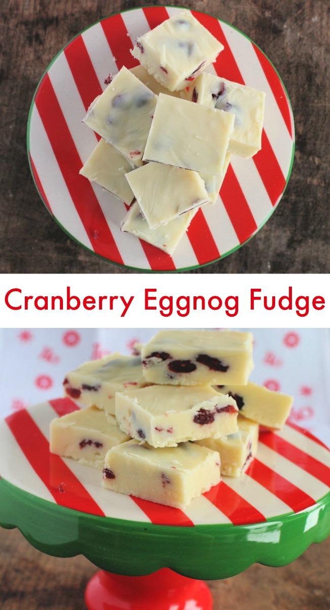 Cranberry Eggnog Fudge for the holidays