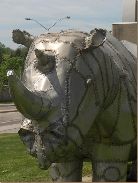 rhino sculpture at museum london in london ontario