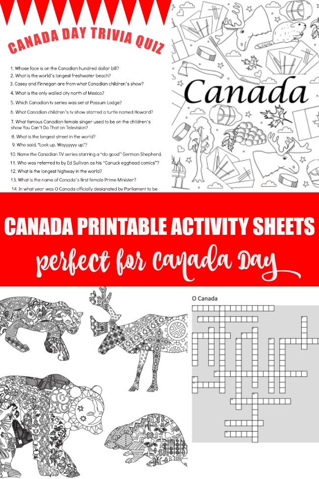Canada printable activity sheets