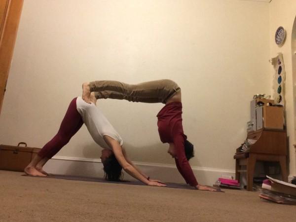 Penny and Morgan - Yoga poses