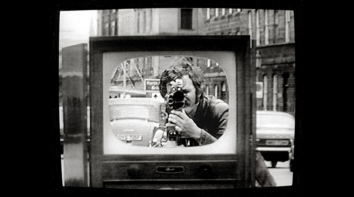 David Hall, TV Interruptions, still from TV shoot-out piece, 1971.