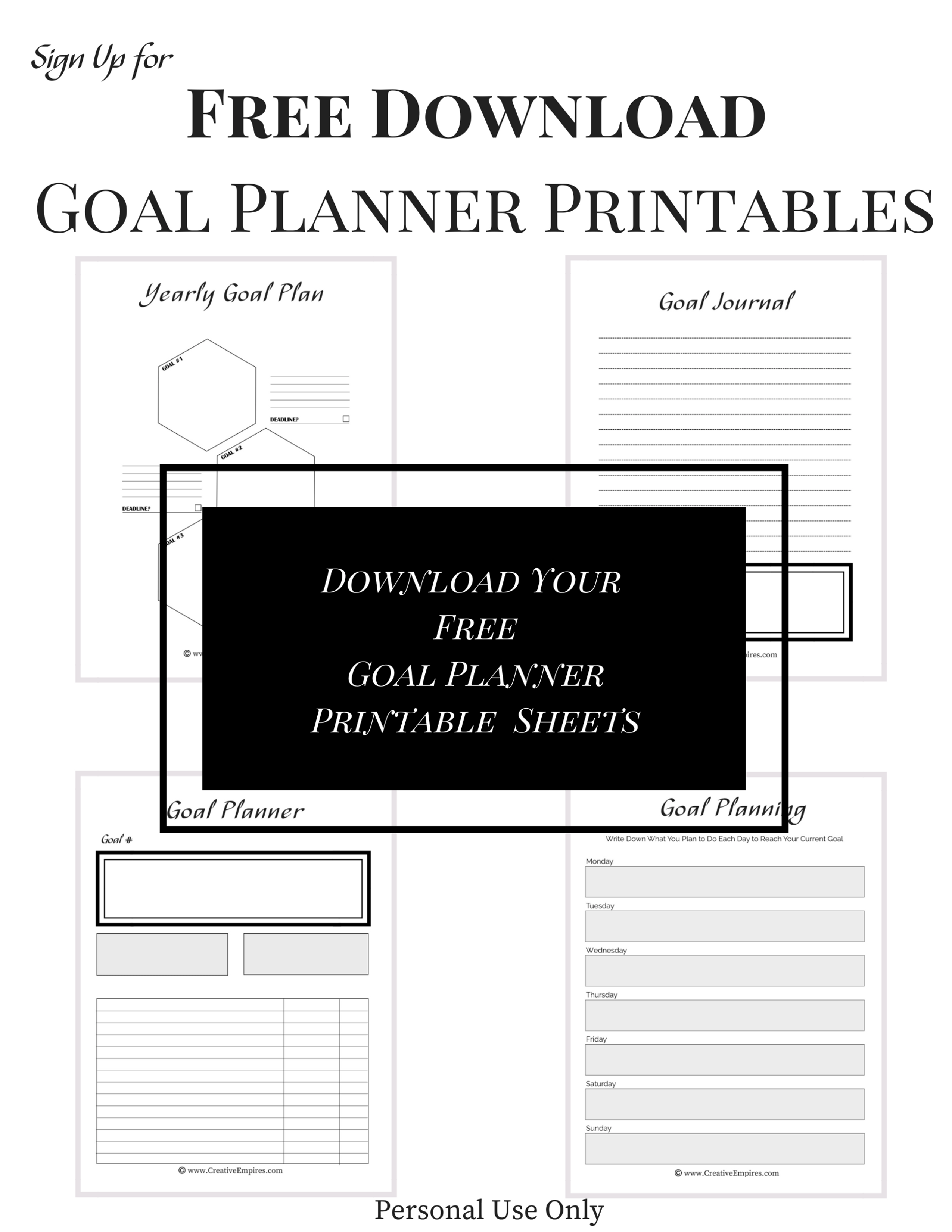 Goal Planning Printables 4 Sheets
