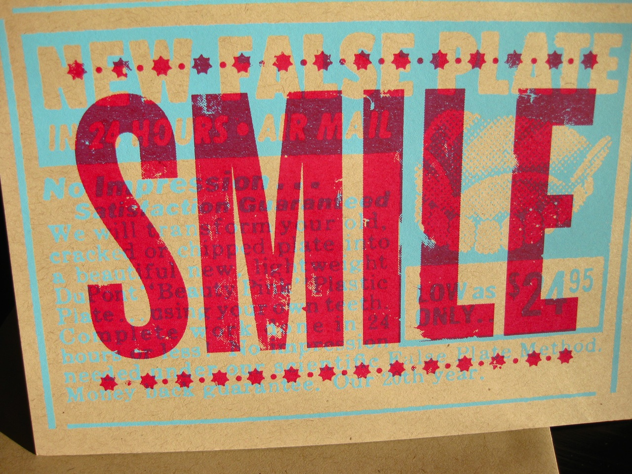 SMILE silkscreened card, also from L2