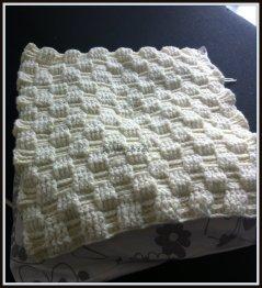 Making: a pillow. Basket weave stitch!