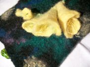 Detail of freesias on felt glasses case