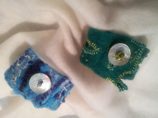 Blue and green cuff / bracelets