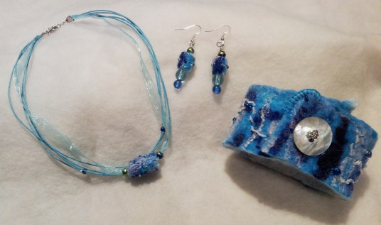 Hand made turquoise felt accessory and jewellery set