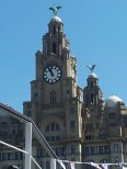 "Liver Buildings from the ""Royal Iris"", which is a Ferry 'cross the Mersey."