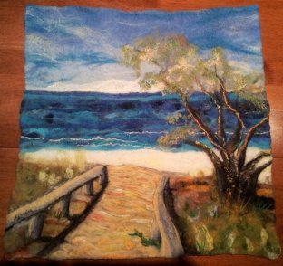 Moffat Beach wall hanging finished