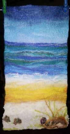 Beach wall hanging, drying
