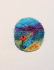 Brooch: Needle felted scene 4cm diameter