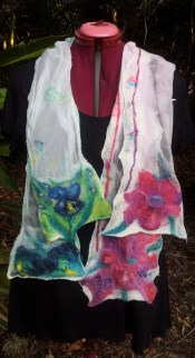 Blue and pink flower scarves together