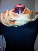 Eco scarf on jill folded back over her shoulders - very chic!