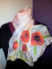 Hemmed soft, drapable nuno felted silk scarf with poppies at either end.