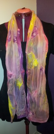 Summer scarf in rose, lavender, heliotrope and yellow on hand-dyed tissue silk using lighter dye bath of same colours.