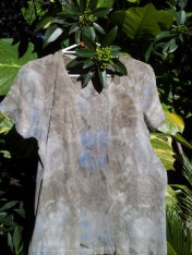 Eco-dyed tee in browns and blues