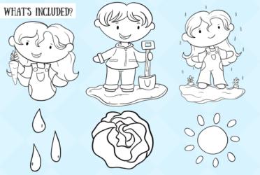 vegetable garden cute graphic illustrations