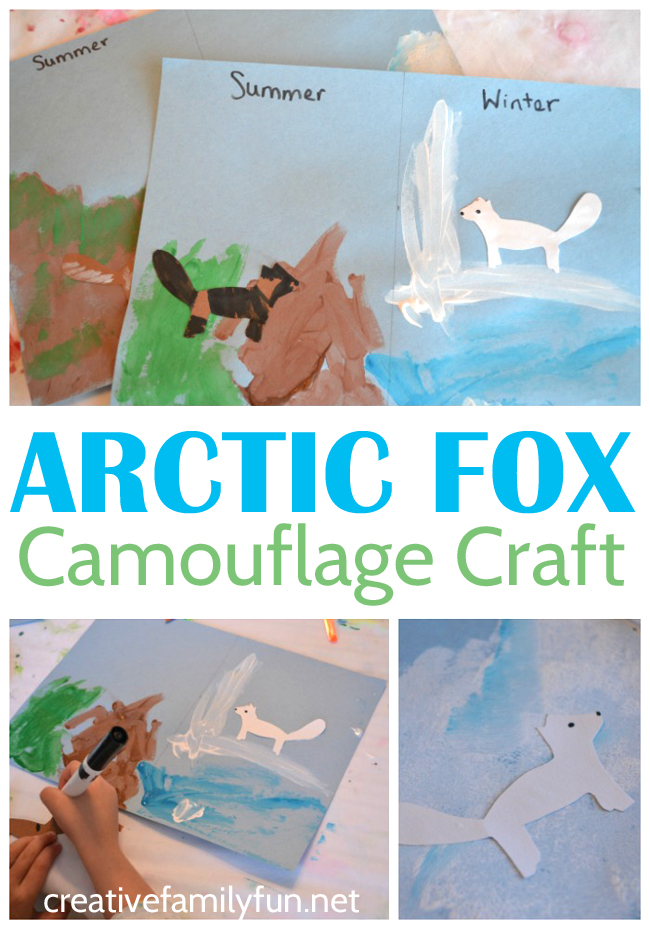 How to make the paper fox craft supplies: Arctic Fox Camouflage Craft Creative Family Fun