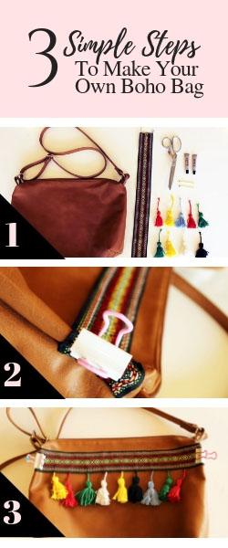 How to make a DIY boho bag Leather Purse no sew tutorial