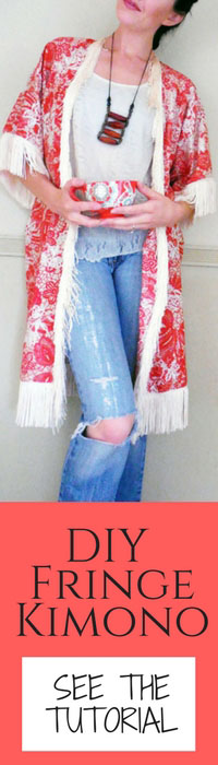 Boho style DIY kimono with fringe from scratch