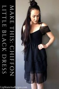Make this DIY Chiffon LBD. Little Black Dress Makeover. Full Tutorial HERE