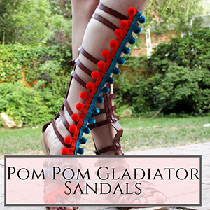 DIY pom pom gladiator sandals