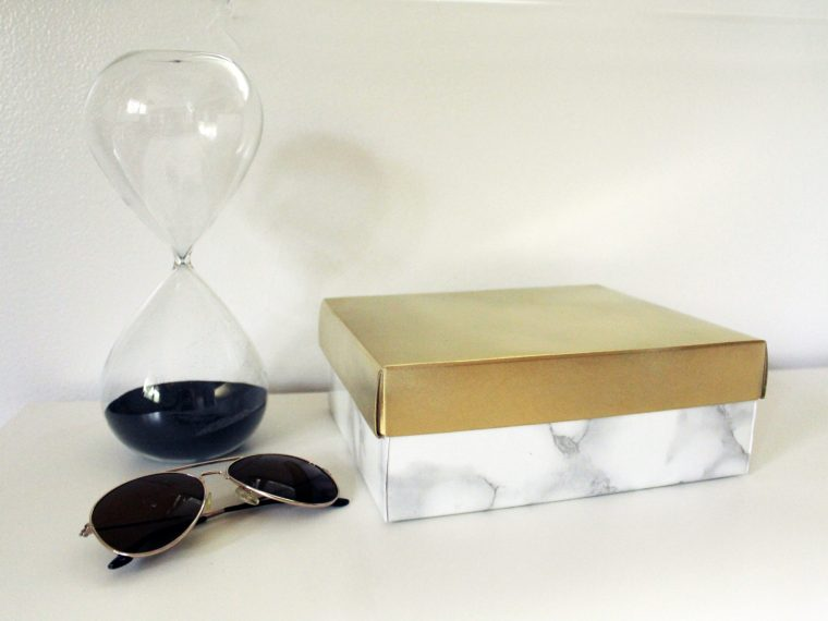 Make A Marble and Gold Container From A Shoebox