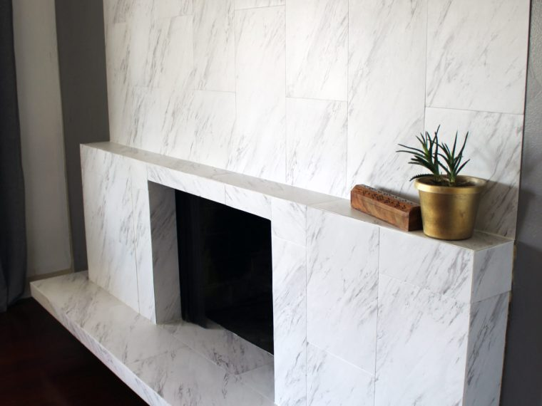 Marble tiled fireplace makeover and full step by step tutorial