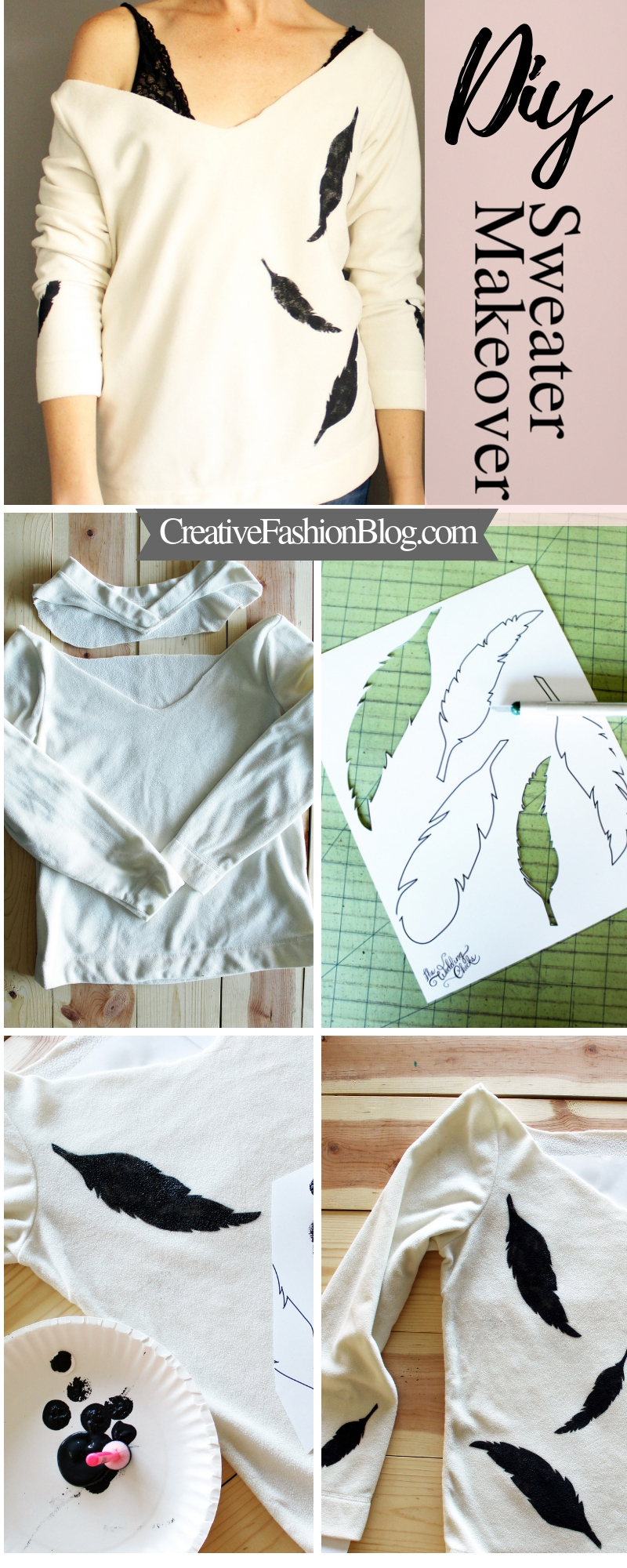 DIY feather stencil sweater refashion makeover..