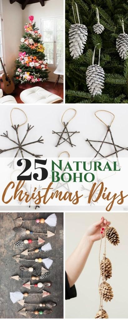 25 Boho Chic Christmas Decor DIY Ideas Ornaments Wreaths and garland