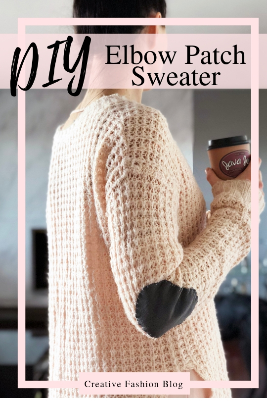DIY Suede Elbow Patch Sweater Tutorial Wool Knit Refashion Idea..