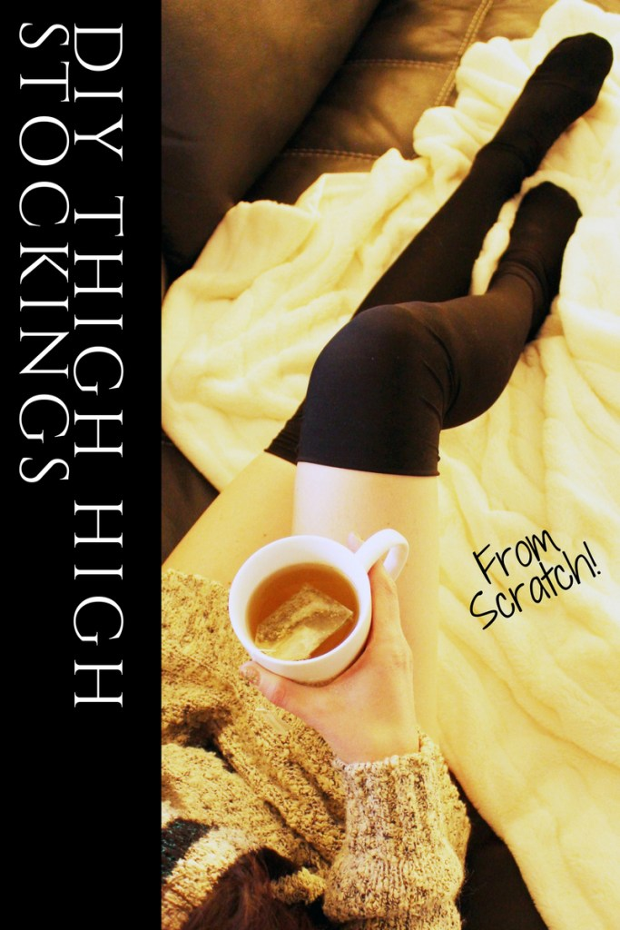 DIY Black Thigh High Socks . Make your own easy socks with this full tutorial