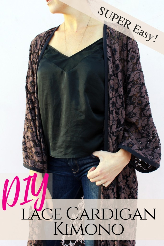 Make a simple DIY Lace Kimono cardigan robe from scratch