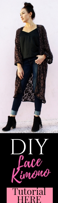 how to Make a simple DIY Lace Kimono cardigan robe from scratch!