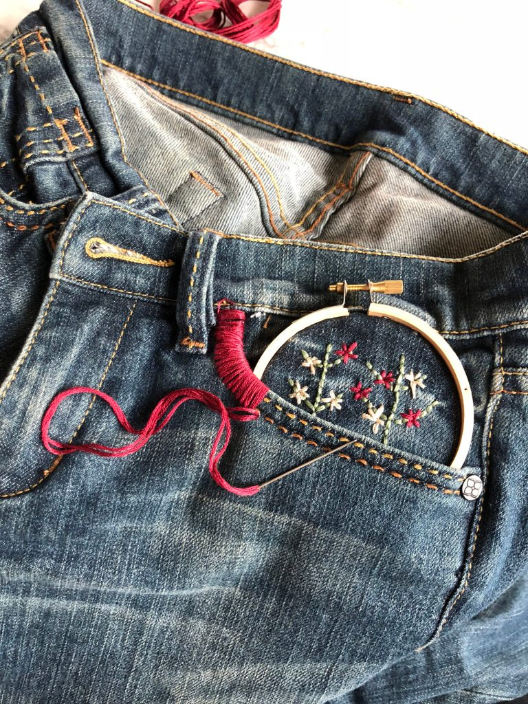 3 Ways to Embroider Jeans For The Beginner