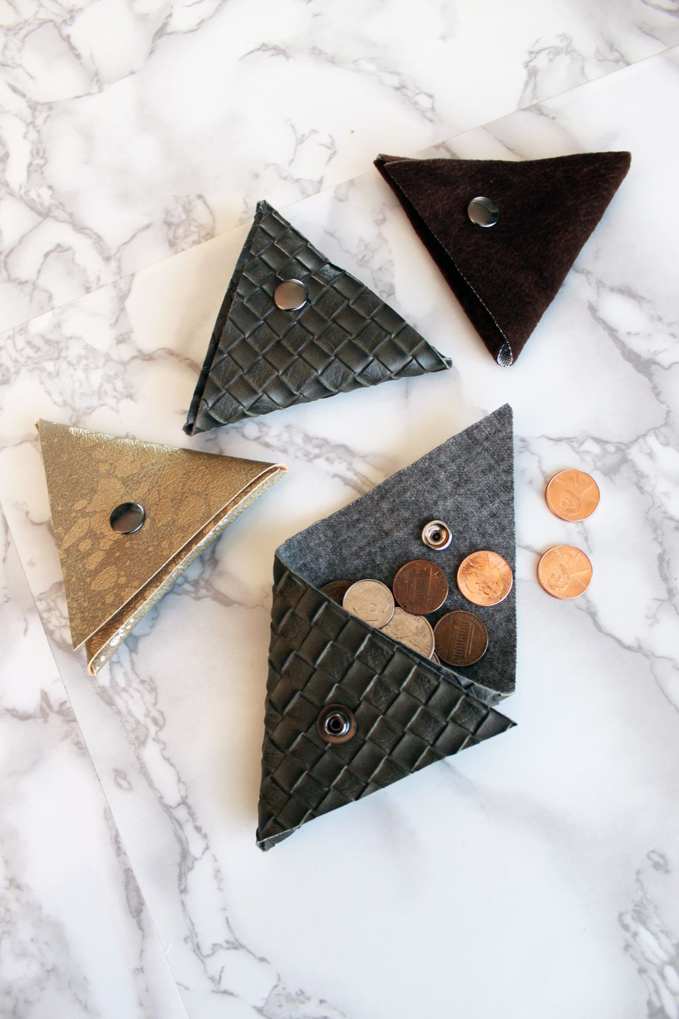 0436fc53c FREE Leather DIY Wallet Pattern - No Sew Triangular Coin Pouch - Creative  Fashion Blog