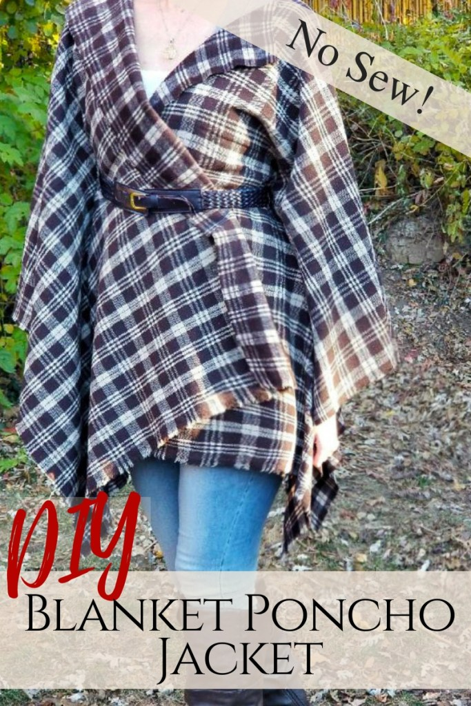 Make a blanket poncho , no-sew plaid belted jacket in under 20 minutes