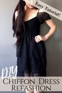 Refashion ideas Little Black Dress Makeover. Make this DIY Chiffon Ruffled Party Dress