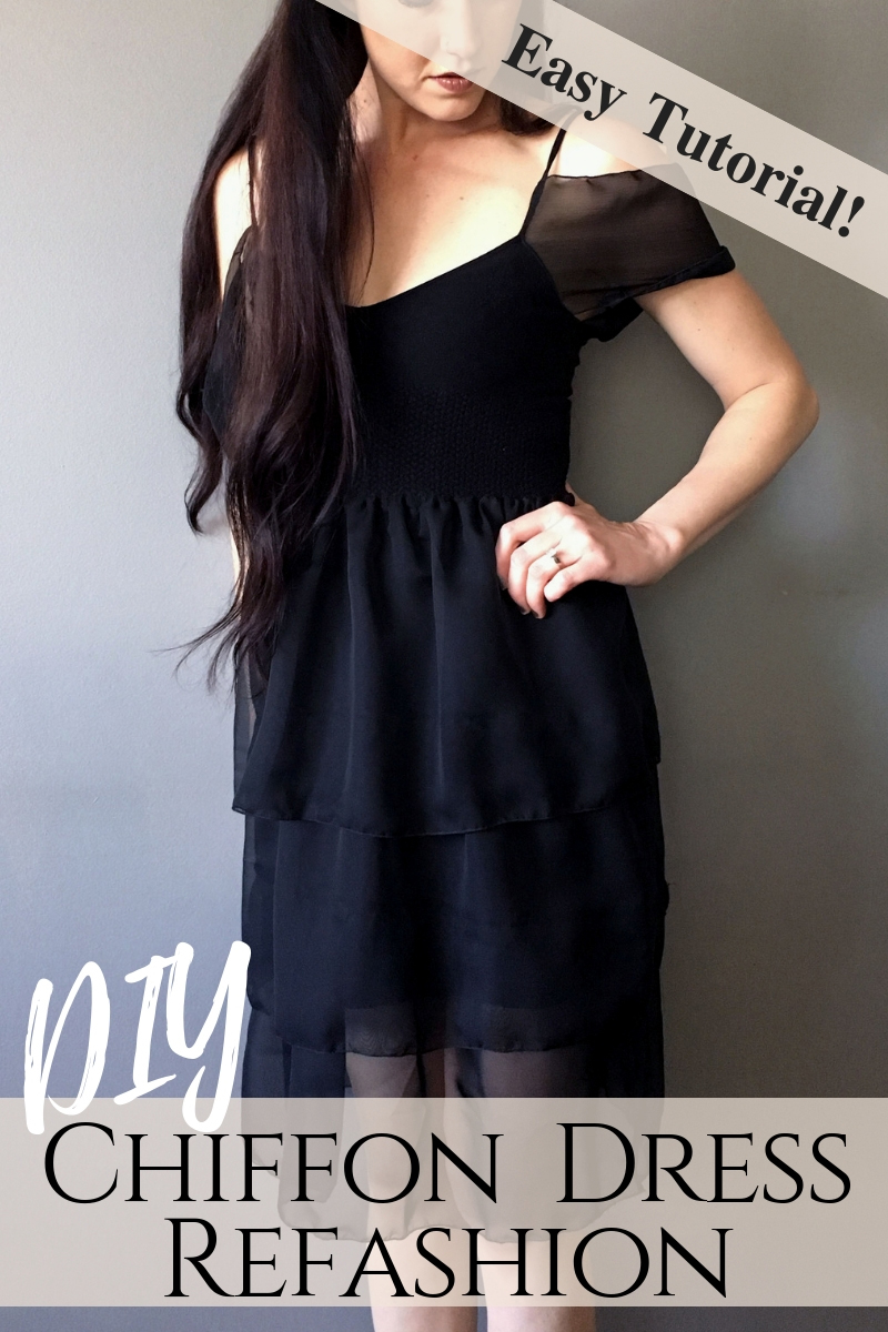 Sewing tutorial: Chiffon little black dress refashion