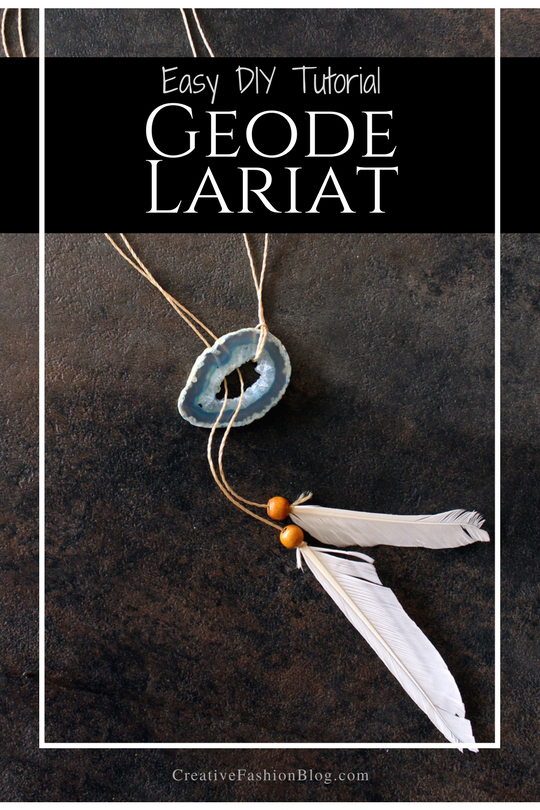 DIY geode lariat necklace with this simple tutorial