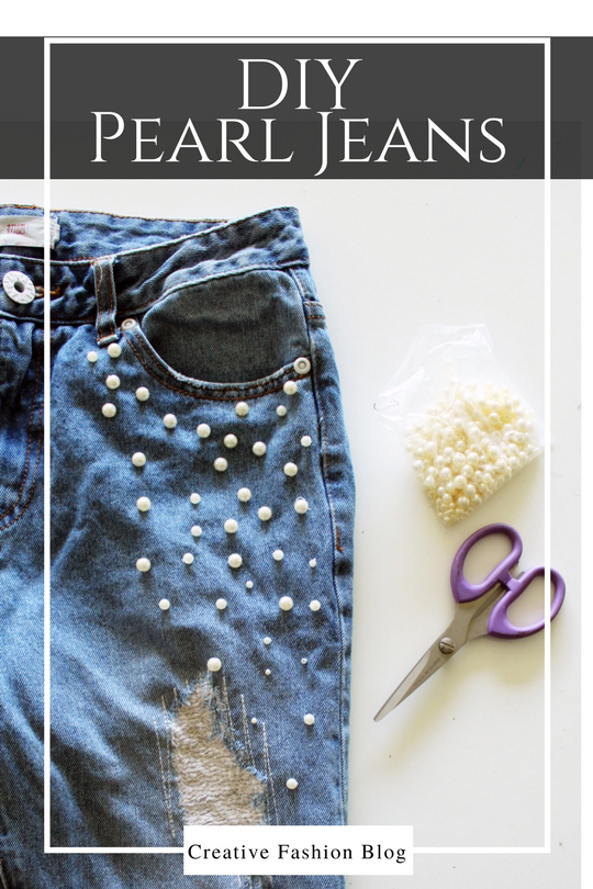 Add Pearl Beads To Your Old Jeans for a new look!
