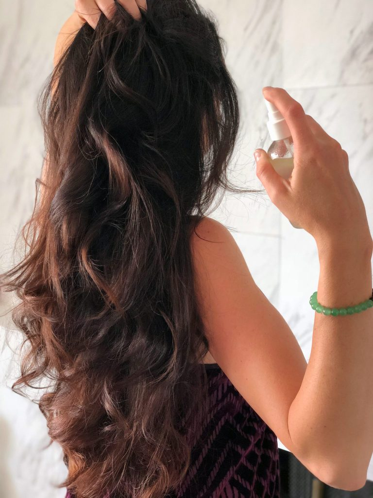 DIY anti frizz hair serum spray with lavender essential oils and avocado