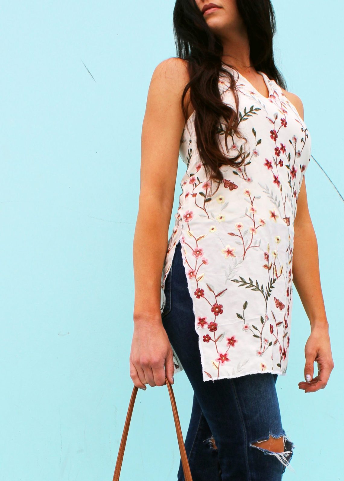 DIY floral tunic dress for summer . an easy beginner sewing project