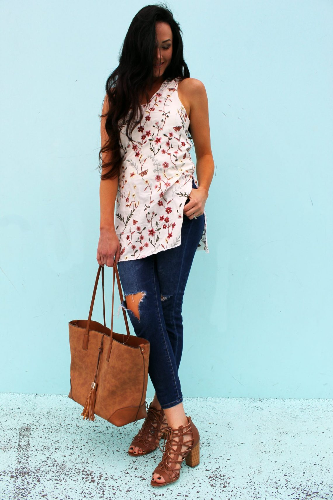 DIY floral tunic dress for summer . an easy sewing project .