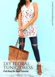 DIY floral tunic shirt for summer .. easy sewing project .