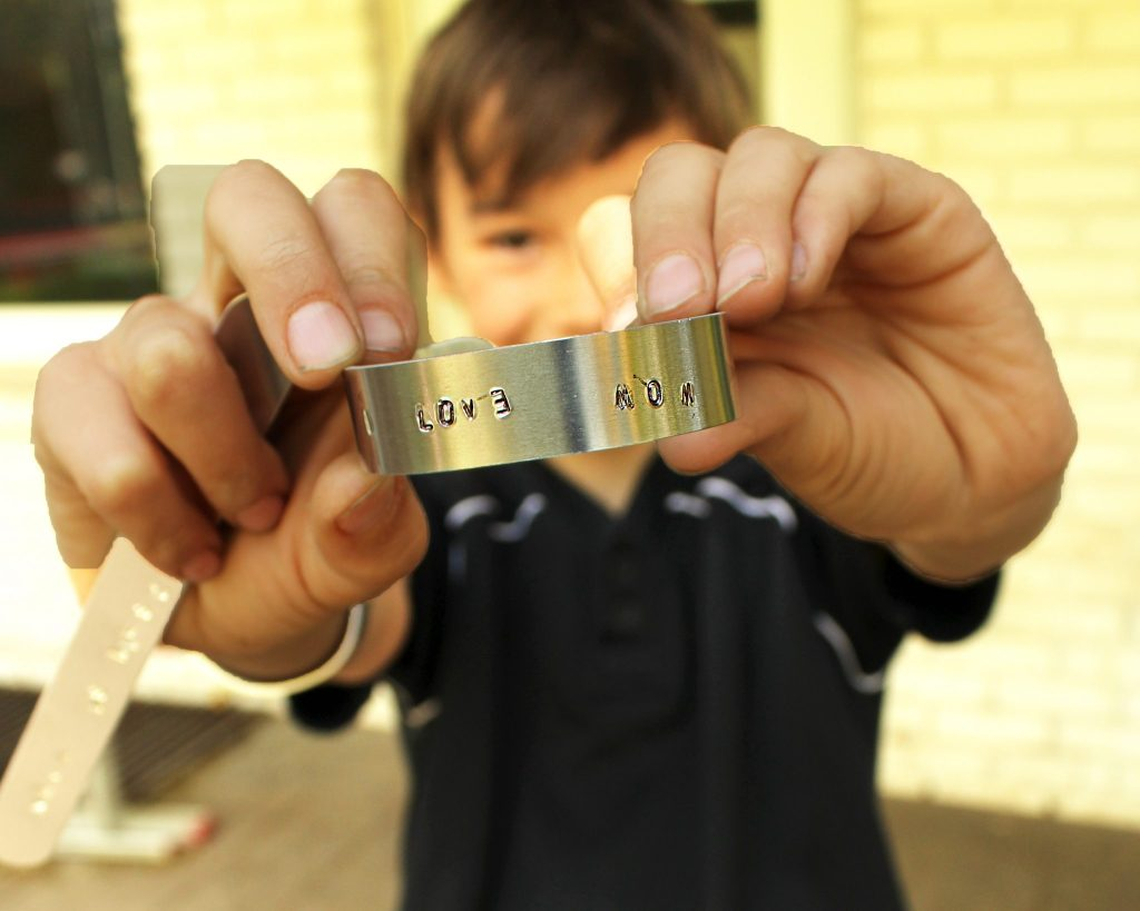 Easy DIY fathers day gifts from kids stamped metal ring project