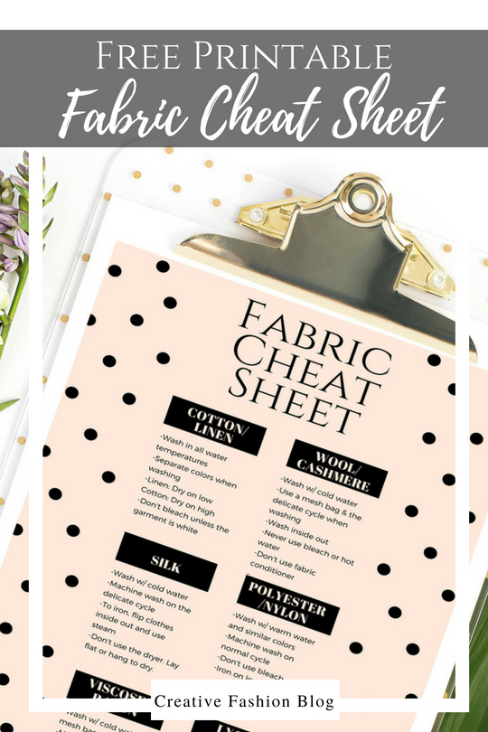 image relating to Printable Fabric named No cost Printable Cloth Treatment Cheat Sheet - Imaginative Type Blog site